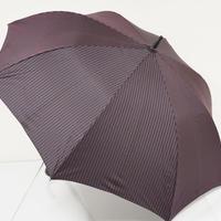 S0459 FULTON フルトン 紳士傘 USED超美品 ブラック×ピンクストライプ 細巻 超大判 68cm 中古 ブランド