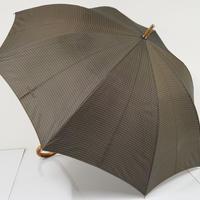 A0537 DA TRUSSARDI トラサルディ 高級紳士傘 USED美品 カーキ チェック 籐手元 大判 65cm 中古 ブランド