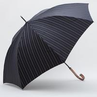 【日本製】 先染めジャガード生地の傘 (黒)ストライプ柄 65cm/長傘 [OSJ0002]