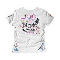 birdog 手刺繍Tシャツ I LOVE MUSIC