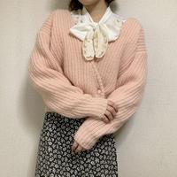 spring light pink knit cardigan