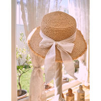 white ribbon straw hat
