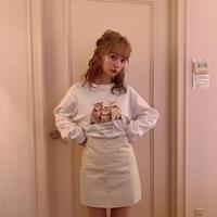 leather mini skirt (ivory)