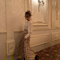 antique check pleats skirt