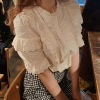 cream cotton frill blouse
