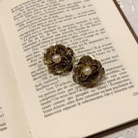 antique flower gold pierce
