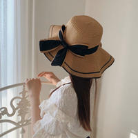 elegant wave ribbon straw hat
