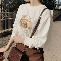 Treat cat long T-shirts(white)