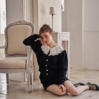 Heart button knit cardigan(black)