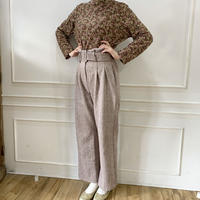 high waist pink tweed pants