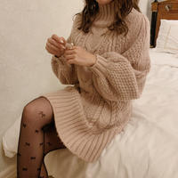 Thick cable knit op (pink)