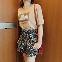 Leopard high-waist short pants