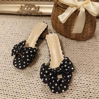 dot ribbon mules