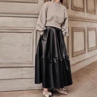 leather volume long skirt(black)