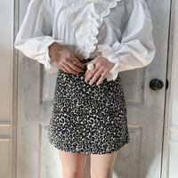 Leopard square mini skirt