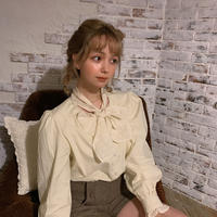 cotton ribbon cream blouse