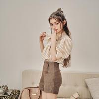 Button design short pants(beige)