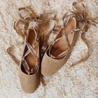 lace-up ballet shoes(beige)