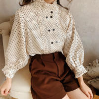 dot classical puff blouse