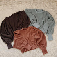 rib ballon sleeve tops(3 colors)