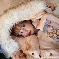 fur short down jacket(snow pink)
