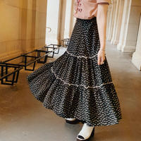dot Paris tiered skirt (black)