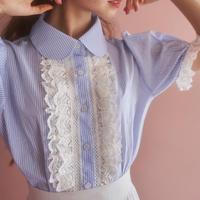 stripe lace summer blouse
