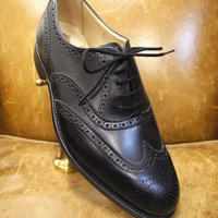 18.79 Rejected Tricker's / Black / Full Brogue Shoes / Leather Sole / Size 8