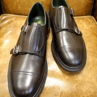 18.54 Rejected Tricker's / Brown / Double Monk Shoes / Leather Sole / Size 8 half
