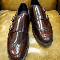 18.52 Rejected Tricker's / Red Brown Polished Leather / Double Monk Shoes / Dainite W Sole / Size 8