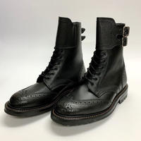 19.43 Rejected Tricker's / Black × Black Grain / Boots with Ankle Strap / Commando W Sole / Size 6H