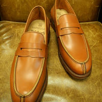 18.35 Rejected Tricker's / Camel / Unlined Loafers / Leather Sole / Size 7