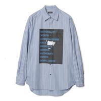 オーバーサイズストライプシャツ  ブルー