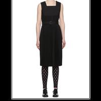 ブラック トロピカル ウール プリーツ ドレス