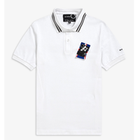 RAF SIMONS LAUREL WREATH PIN DETAIL TIPPED POLO SHIRT