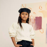the new society RECYCLED LEATHER BERET(M)