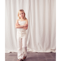 6Yサイズ ラスト1点 tocoto vintage  Swiss embroidered flared trousers(3Y,4Y,6Y)