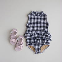 2サイズのみ Olivia Lee One-Piece Ruffle Swimsuit Black & White Gingham(2,3,4,5)