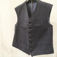 1940〜50's French Unknown Black Chambray Vest Deadstock