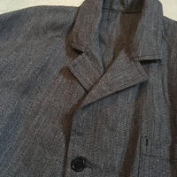 1950's French Unknown Black Chambray Atelier Coat Deadstock