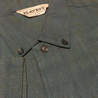 1960's PLAYBOY Herringborn Rayon S/S Shirt Deadstock