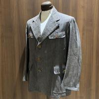 1930's〜 French Unknown Black Chambray Stripe Jacket