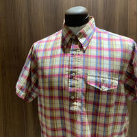 1980's NORDSTROM  Indian Madras Pullover S/S Shirt