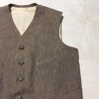 1930's French Unknown Brown Chambray Hunting Vest