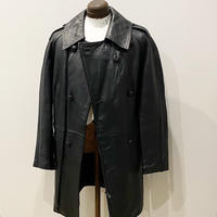1980's French Military Leather Motor Cycle Coat Deadstock