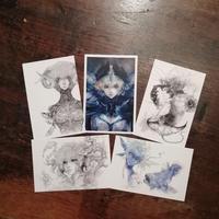 福西ロウ デザインのポストカード5枚セット (1drinkチケット付き) Roe Fukunishi  Postcard Sets 5pcs (with 1drink ticket)