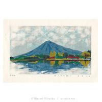 平岡瞳 木版画「山と湖」*シート