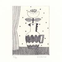 芳野「窓辺に花を」銅版画 *シート