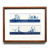 平岡瞳 版画「まっくろいたちのレストラン」11