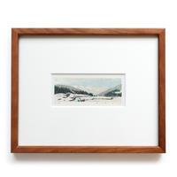 平岡瞳 木版画「車窓からの風景」